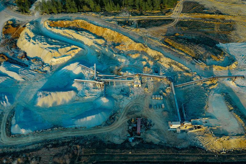 High angle view of coal mine