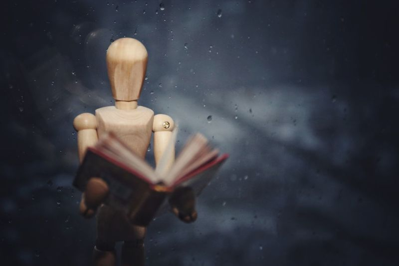 Close-Up Of A Mannequin Reading Book