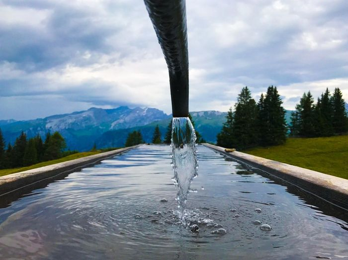 Fountain Nature Mountain Water Mountainpool Beauty In Nature No People Cloud - Sky Outdoors
