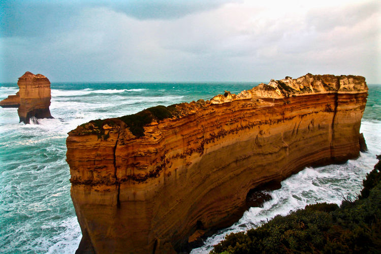 Scenic view of rock formation at loch ard gorge in port campbell