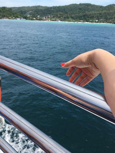 Person on boat in sea