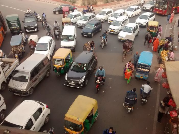 A usual day. EyeEm Selects Road New Delhi India Traffic Mobilephotography PhonePhotography City High Angle View Traffic Jam Rush Hour Taxi Vehicle Yellow Taxi