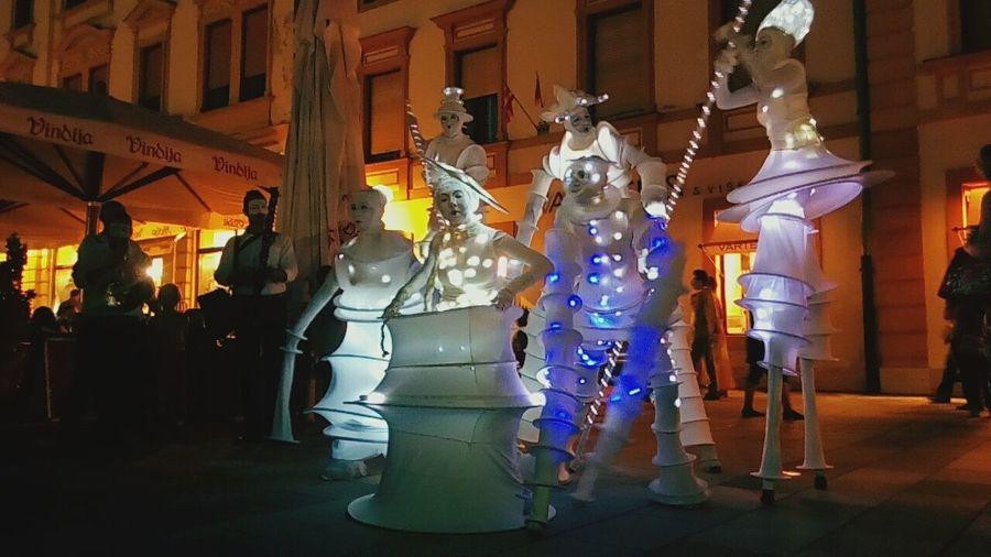 Illuminated Night City Christmas Lights Electric Light Outdoors Varazdin Spancirfest