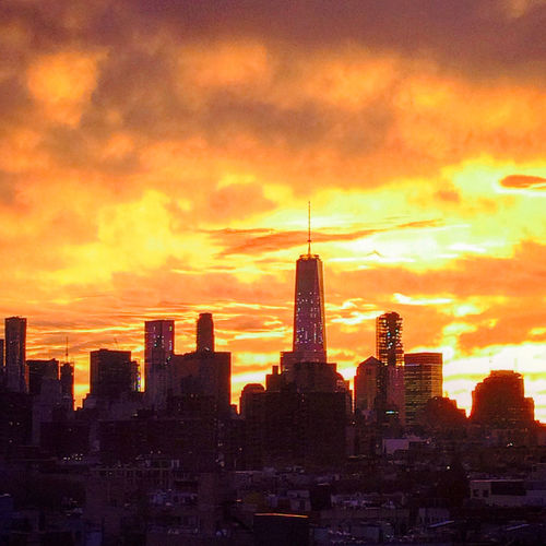 Freedom Tower Architecture Building Exterior City Cityscape Cloud Cloud - Sky Famous Place Outdoors Silhouette Sky Sunset Tall - High Tower