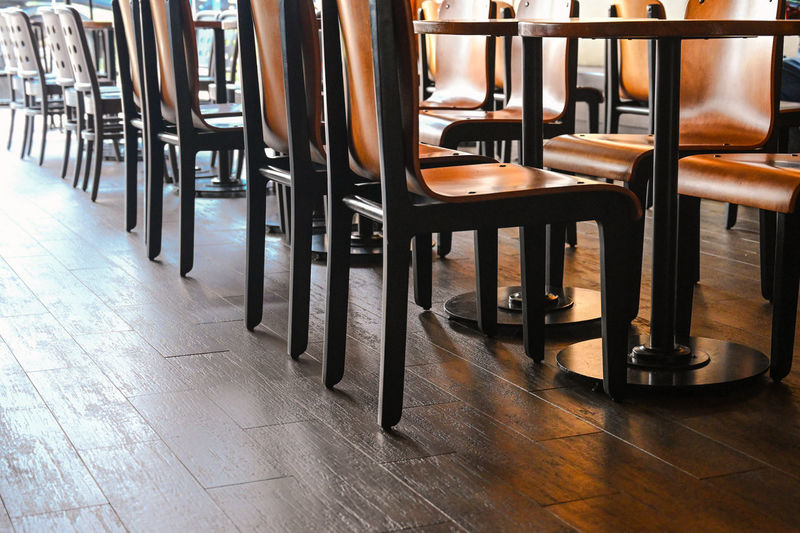 Seat Absence Empty Flooring Chair In A Row Indoors  Furniture Table No People Restaurant Business Arrangement Wood - Material Tile Tiled Floor Bar - Drink Establishment Architecture Order Repetition Bar Counter Bistro Cafe