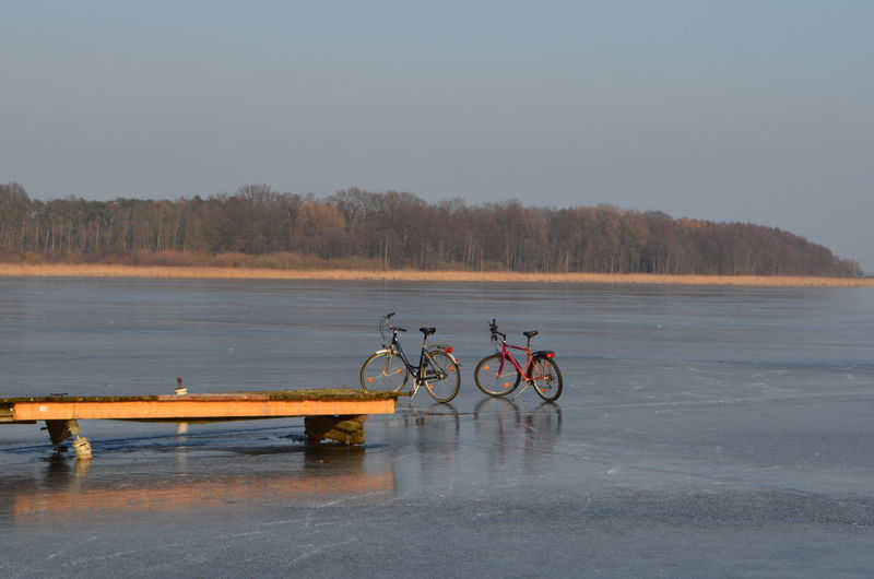 Schwielowsee near Potsdam Berlin Bicycles Bicyle Eis Fahrrad Fahrradtour Ice Lake Nature No People Outdoors Potsdam Schwielowsee Water Werder (Havel) Winter Zugefrorener See