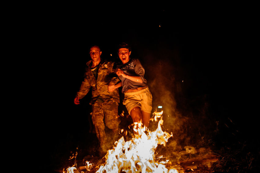 Jumping Through The Fire Bathed Night