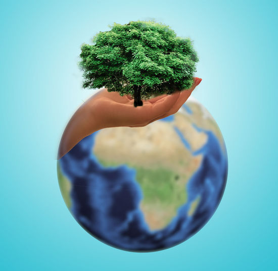 Digital composite image of cropped hand holding plant with globe against blue background