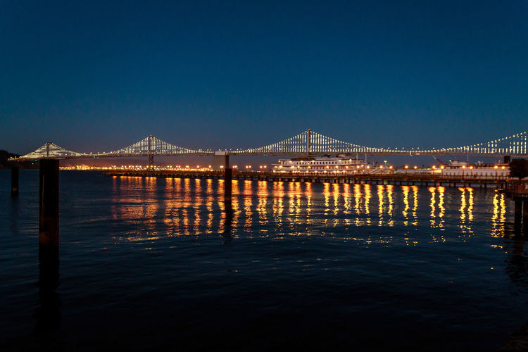 City Cityscape Lights Reflection San Francisco Bridge Bridge - Man Made Structure Ocean Reflections In The Water