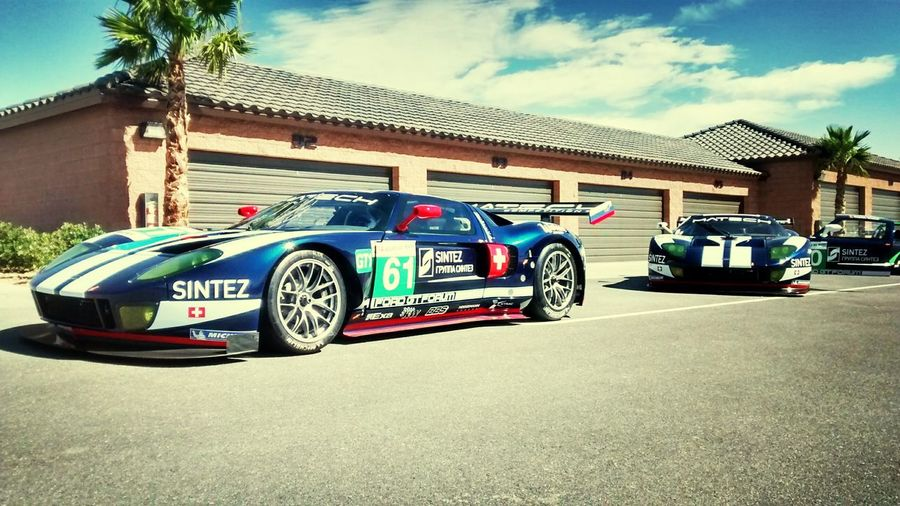 A pair of Ford GT Le Mans 24 hour race cars
