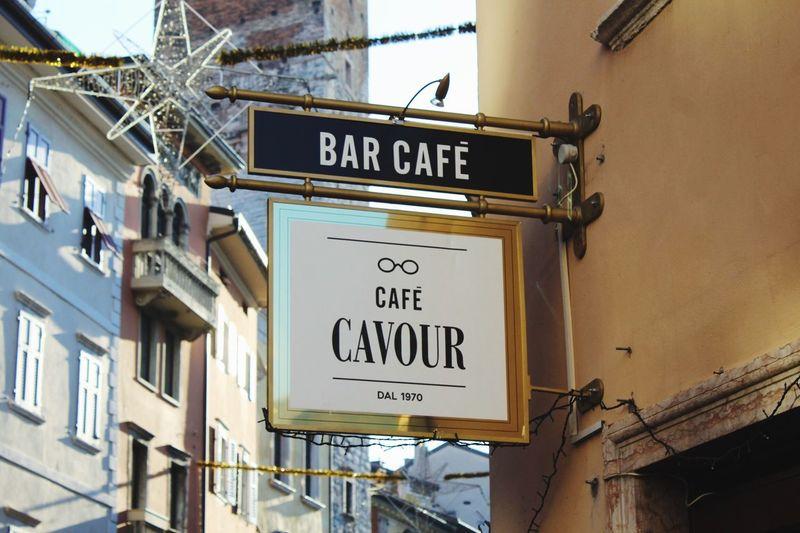 """Cafè Cavour"" Communication Information Sign Text No People Close-up Outdoors Day Architecture Caffè Bar Bolzano Segnaletica Cafe Tumblr Photo Filtri Mountain Cavur Italia Fotografia -CM"
