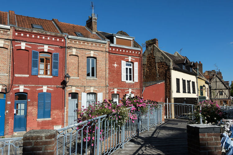 Amiens, France Amiens France Architecture Built Structure Building Exterior Building Sky City Residential District Window Sunlight Clear Sky Day No People House Blue Outdoors Wall Town Transportation Row House