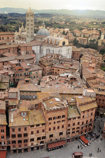 Siena Cathedral seen from Torre del Mangia Siena Cathedral Siena Siena Italy Italy Tuscany Church Cathedral High Angle View City Cityscape Medieval Ancient View Architecture Building Exterior Built Structure Building Travel Destinations Town Landmark Famous Place The Past
