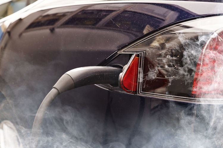 Cropped image of electric car