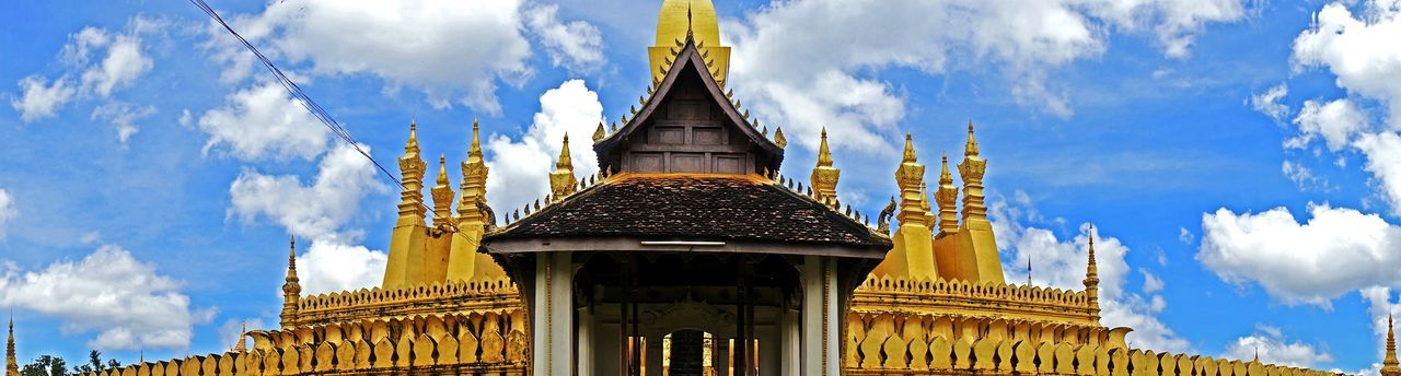 Gold Temple Thailand Thai Temple Amazing Architecture Blue Sky Blue Clouds Clouds And Sky Building Golden Temple Wide Angle Panorama Travel No People South East Asia Check This Out Oriental Old Followme Follow Architecture Cool Eye4photography  Photography
