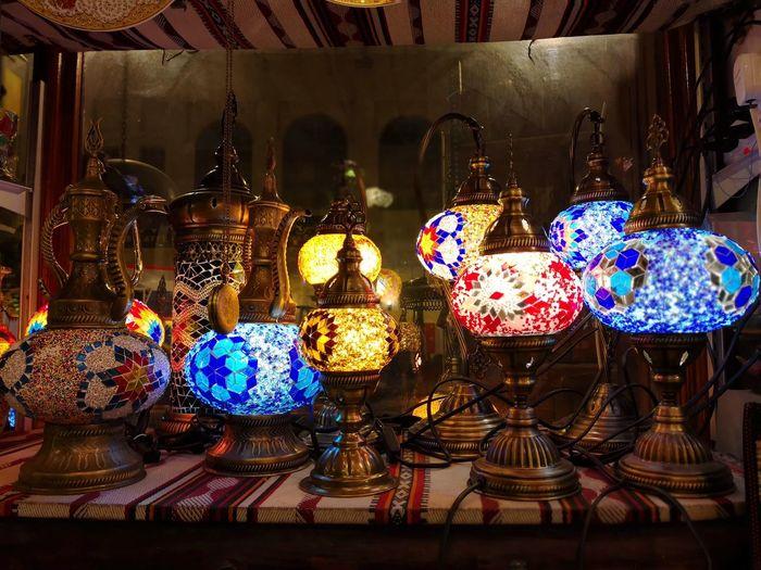 Souq Wakif traditional market Turkish Lamp Doha Qatar Souq Waqif Multi Colored Variation Choice For Sale Stall Market Stall Display Electric Light Shop Market Street Market