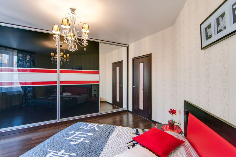 Indoors  No People Architecture Furniture Lighting Equipment Home Interior Entrance Door Red Wall - Building Feature Built Structure Seat Domestic Room Table Absence Flooring Flag Wood - Material Illuminated Ceiling