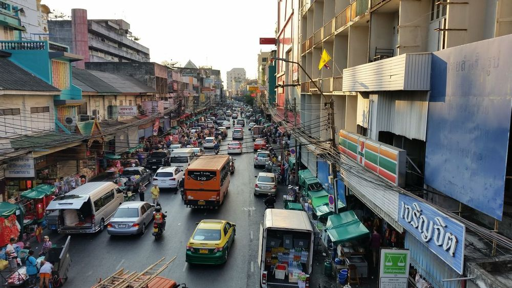 Street Bangkok Thailand Bangkok Thailand. Bangkok Thailand Pahurat Road High Angle View Real People Traffic Shopping ♡ Shoppings Perspective Evening