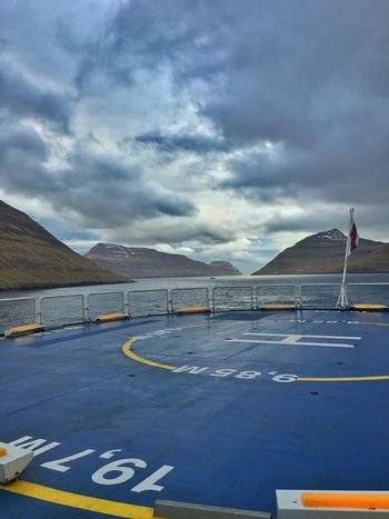 Ferry Helicopter Landing Leaving Faroe Islands Great View Iceland116