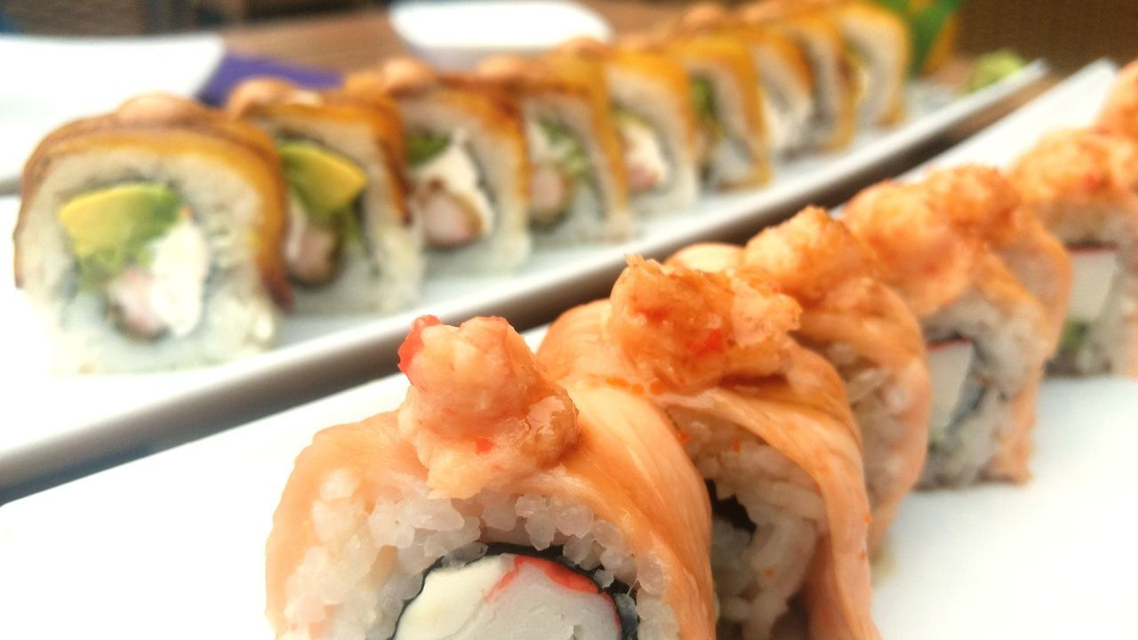 food and drink, seafood, japanese food, sushi, food, freshness, healthy eating, ready-to-eat, still life, plate, fish, rolled up, salmon, close-up, rice - food staple, serving size, no people, indoors, sashimi, chopsticks, day