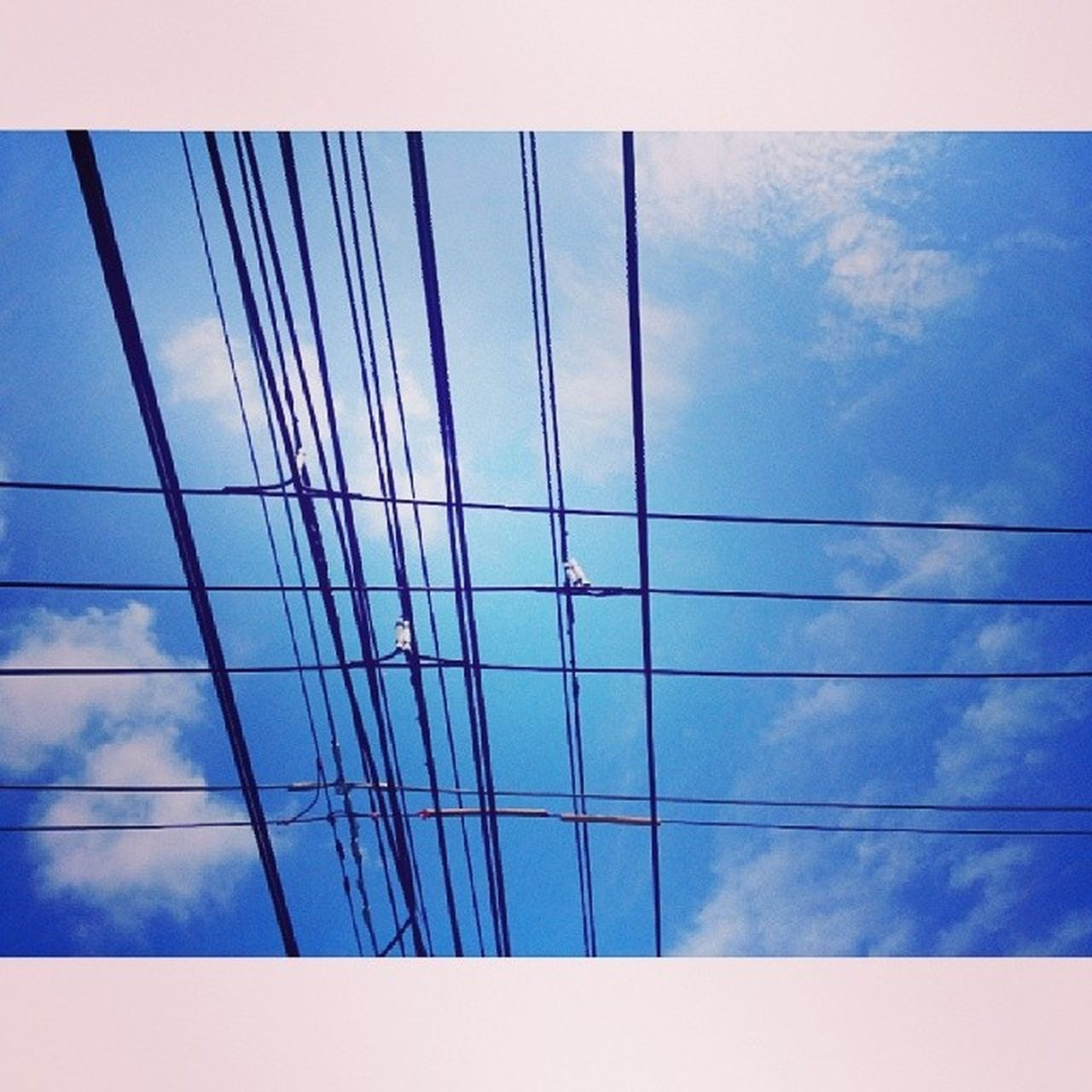 cable, blue, connection, sky, low angle view, no people, day, outdoors, close-up