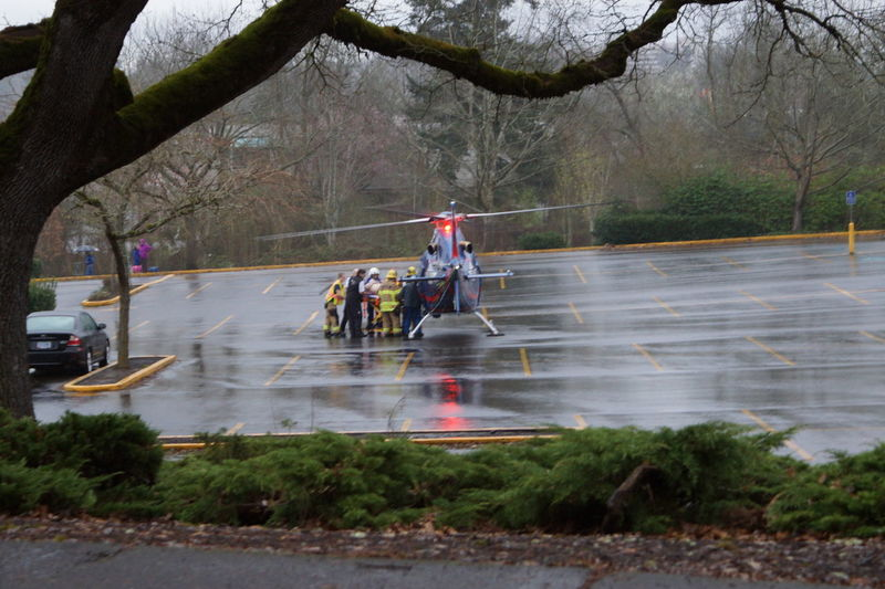 Firefighter Helicopter Injured Parking Lot Rain Accidents And Disasters Emt Lifefight Patient Real People Rescue