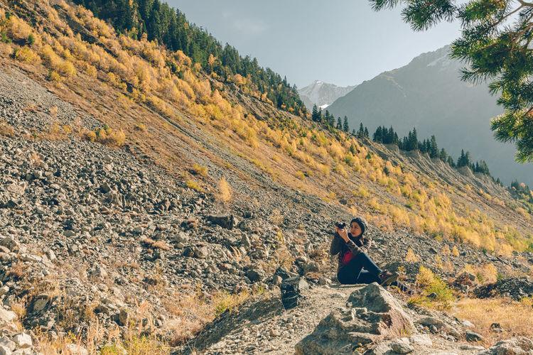 Scenic view of mountain range