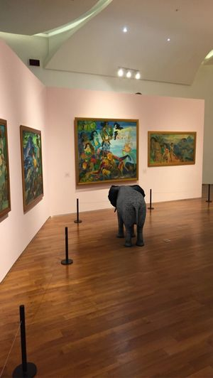 Paintings Photooftheday Indoors  Art And Craft Mammal Architecture Representation No People Paintings Museum Flooring One Animal Home Interior Paint