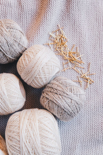 Textile Still Life No People Close-up Wool Art And Craft Textured  Thread Material Group Of Objects Full Frame Softness Neutral Colors Yarn Yarn Balls Cotton Cotton Balls Strings