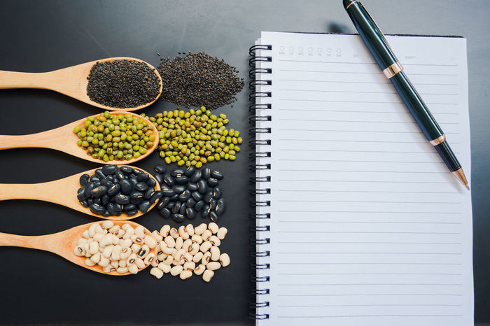Beans Cereal Copy Space Desk Diet Seeds Black Blank Empty Food Food And Drink Freshness Healthy Healthy Eating Ingredient Mock Up Paper Sesame Soy Soya Spoons Still Life Table Variation Wooden
