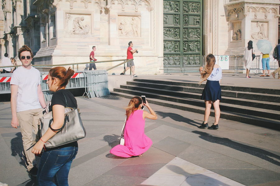 Photos from summer trip !! Milan from my colorful view 😋 City Full Length Togetherness Friendship Women Standing Girls Architecture Large Group Of People Cathedral Town Square Crowd Place Of Interest