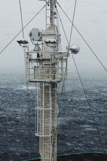 Snow Storm Ocean Storm Telecommunications Equipment Mast Navigation Ship Cable Connection Sky Communication Tower
