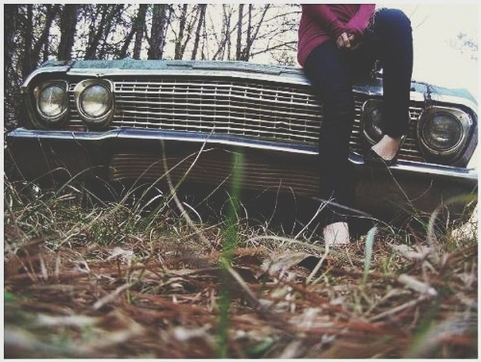 Car Old Car Impala Vintage Vintage Car Female Woman Young Woman Young Women Grass Grown Over Overgrown Low Section Grass Close-up