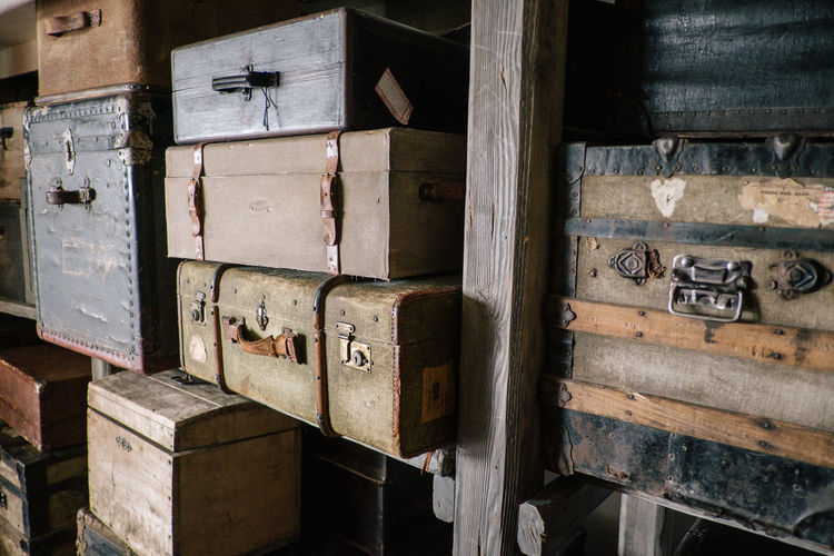 Suitcase Bag Bags No People Wood - Material Old Box Indoors  Container Metal Close-up Day Box - Container Stack Abandoned Obsolete Damaged Large Group Of Objects Open Still Life Industry Baggage