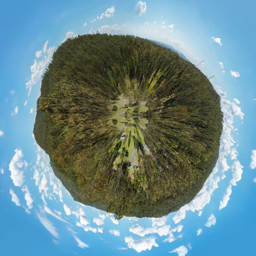 Small planet view of national park Arial Shot Grass National Park Tree Clouds Forest Panoplanet Planet Sky Small Perspectives On Nature