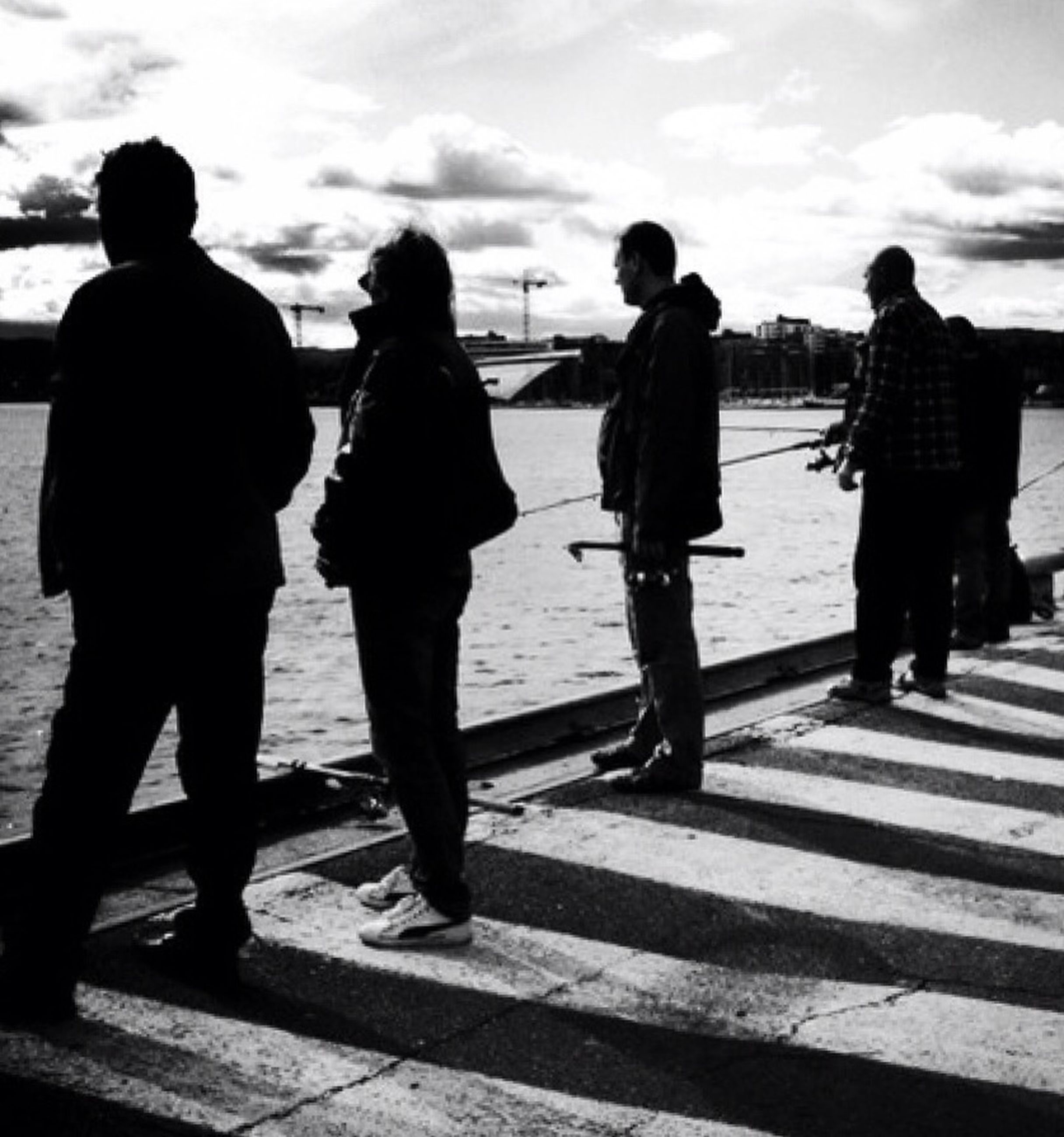 silhouette, full length, people, adult, outdoors, adults only, day, men, togetherness, friendship, city, sky, young adult, only men