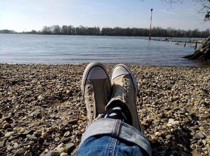 Human Body Part Low Section Shoe Human Leg Personal Perspective Springtime Melancholic Landscapes Landscape Spring Spring Has Arrived Spring Into Spring We Are Photography, We Are EyeEm Horizon Over Water Beauty In Nature My View