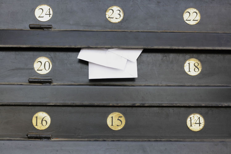 Close-Up Of Numbers On Drawers