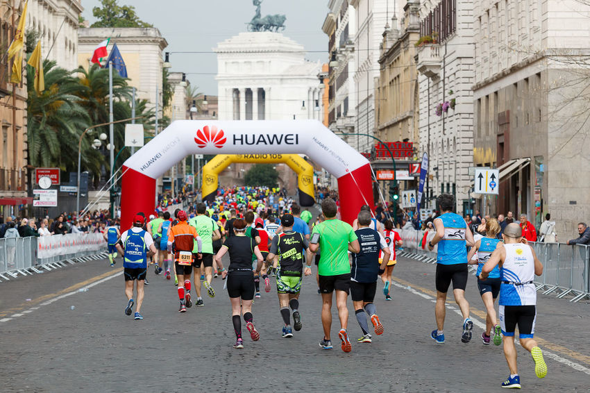 Rome, Italy - April 2nd, 2017: Athletes of the 23th Rome Marathon to step in Via Nazionale, a few kilometers from the finish. In the background the monument to Vittorio Emanuele II. Adult Architecture Building Exterior Built Structure City Crowd Day Large Group Of People Leisure Activity Lifestyles Man Run Marathon Men Outdoors People Real People Rome Italy🇮🇹 Romemarathon Romestreets Run Runner Running Sport Event Sport In The City Women