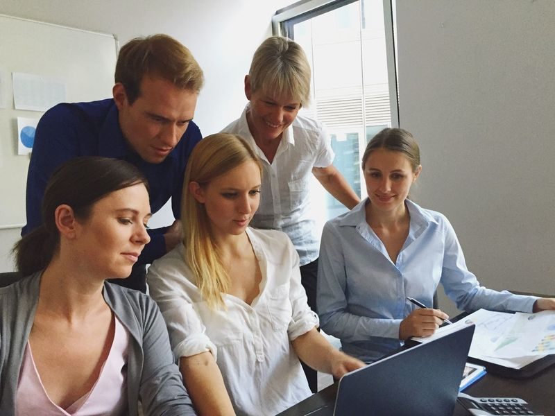 Business Team Group People Business People Computer Laptop Woman Man