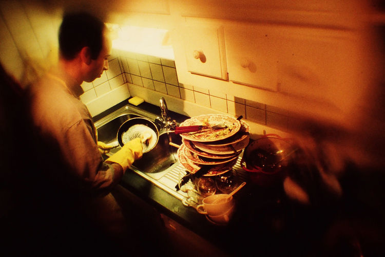Adults Only Food Food And Drink Indoors  Kitchen Man Washing Up Dishes One Person Real People