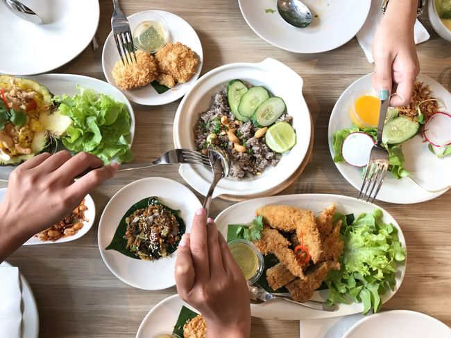 Human Hand Plate Food And Drink Table Ready-to-eat Healthy Eating Human Body Part High Angle View Lunch Indoors  Freshness ShareTheMeal