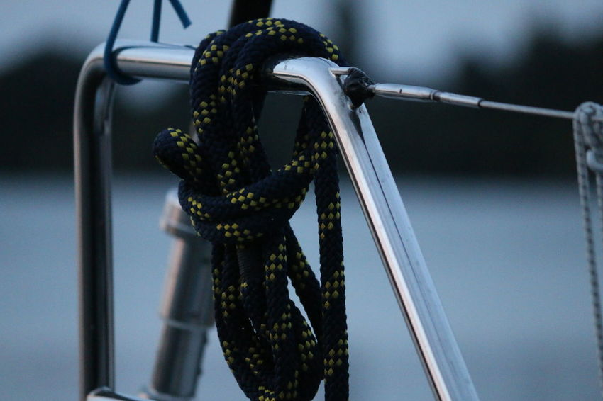 Bootszubehör Leinen Los Schoten Close-up Day Focus On Foreground Hanging Leinen Metal Mode Of Transportation Nature Nautical Vessel No People Outdoors Plant Rope Safety Segelboot Selective Focus Strength Tied Knot Tied Up Transportation Tree Water