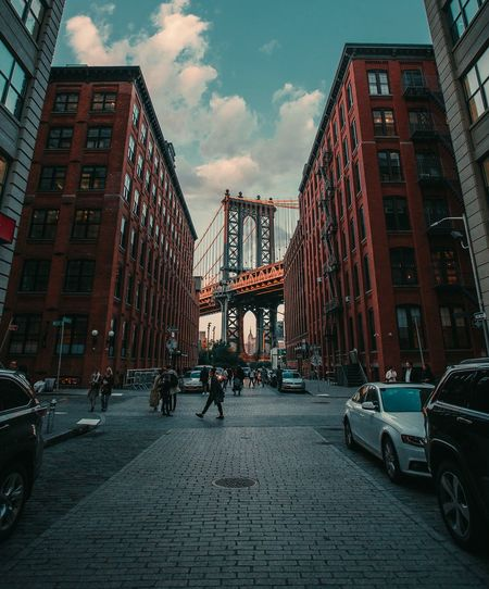 Manhattan Bridge New York New York City Brooklyn Street Brooklyn Bridge  City Car Cityscape Sky Architecture Building Exterior Built Structure City Street