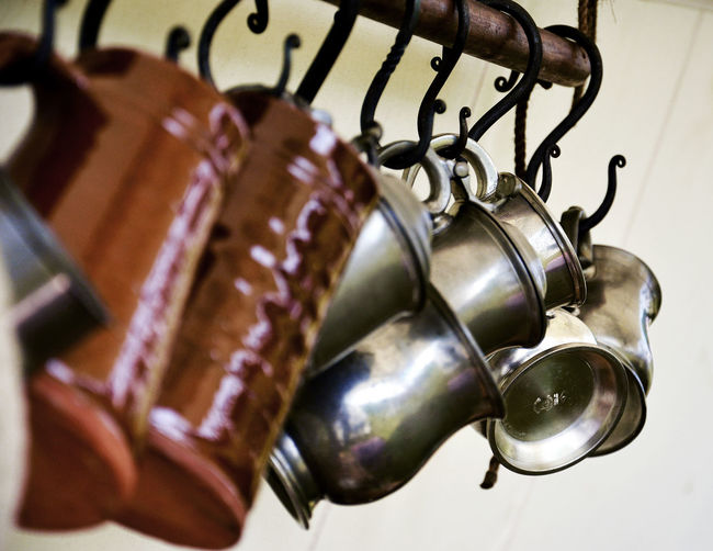Silverware  Tankards Close-up Cup Day Earthenware Hanging In A Row Kitchen Utensil Metal No People Selective Focus Still Life Tankard Variation