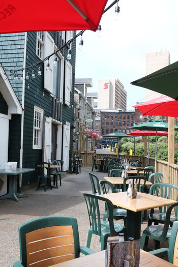 Architecture Building Exterior Built Structure Cafe Chair Day Empty Halifax, Canada No People Nova Scotia, Canada Outdoor Cafe Outdoors Restaurant Seat Sidewalk Cafe Sky Table