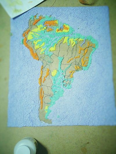 Not Finish I'm Lazy.....  South America Map Hard Work Papermache