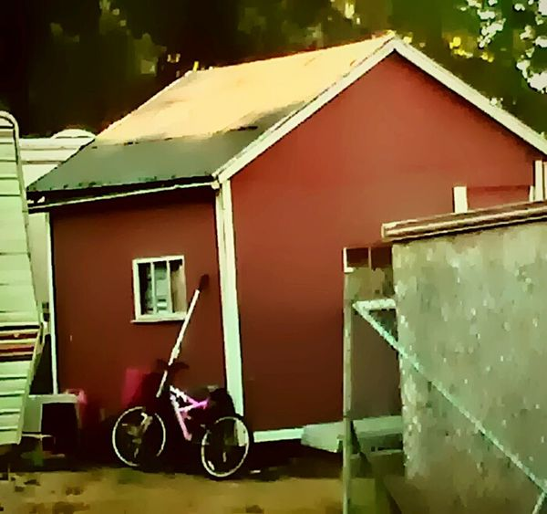 Hello World Someones Home Be Thankful For Everything You Have. Be Thankful For A Roof Over Your Head A Place To Sleep Go Out And Do Something Nice Give Back Be A Leader Be A Good Person Help The Needy Feed The Hungry Help Your Fellow Man Gain Good Karma Red House Small House Childs Bike Childhood Memories