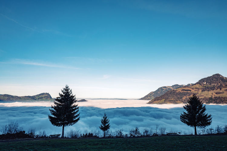 Scenic View Of Cloudscape And Mountain Against Sky