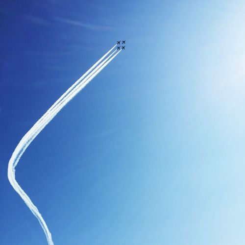 Beautiful Blue Inpulse Air Force Air Vehicle Airplane Flying Sky Blue No People Copy Space Plane Cloud - Sky Low Angle View Smoke - Physical Structure